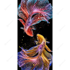 45*85CM Round Drill Diamond Painting-Colorful Fish