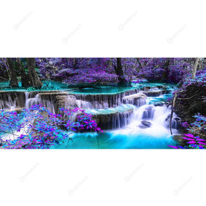 90*40CM Round Drill Diamond Painting-Waterfall Scenery
