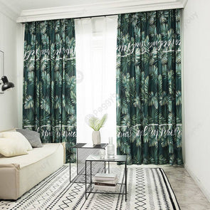 Brushed Blackout Curtain Blind Fabric Shading Drapes (Rainforest 1x2.5m)