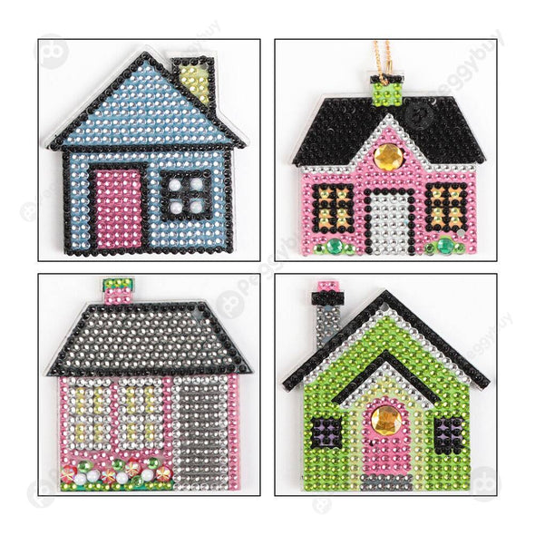4pcs Cute Four Houses-DIY Creative Diamond Keychain