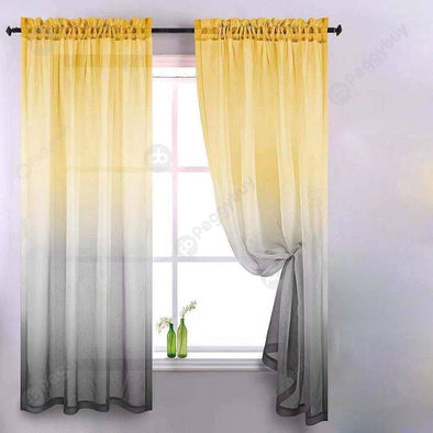 Gradient Window Tulle Curtains for Living Room Sheer Drapes (Yellow Grey)
