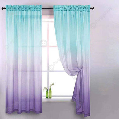 Gradient Window Tulle Curtains for Living Room Sheer Drapes (Blue Purple)