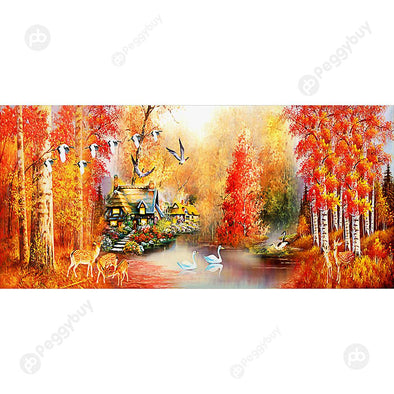 100*50CM Round Drill Diamond Painting-Autumn Maple Leaves