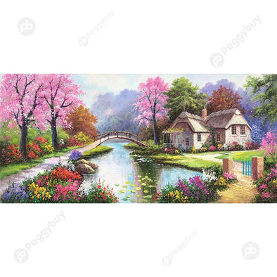 100*50CM Round Drill Diamond Painting-Spring Village Scenery