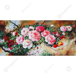 100*50CM Round Drill Diamond Painting-Blooming Flowers