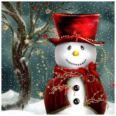 30*30CM Round Drill Diamond Painting-Christmas Snowman