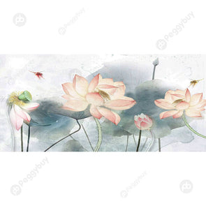 100*50CM Round Drill Diamond Painting-Lotus