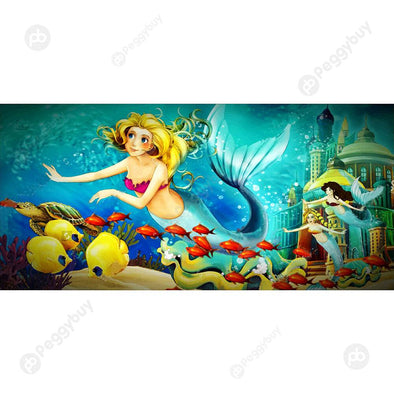 100*50CM Round Drill Diamond Painting-Mermaid