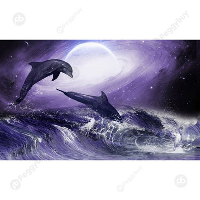 100*50CM Round Drill Diamond Painting-Dolphin