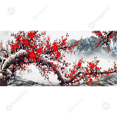 100*50CM Round Drill Diamond Painting-Plum Blossom