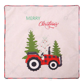 Linen Plaid Tractor Printed Christmas Cushion Pillow Case (Black Red)