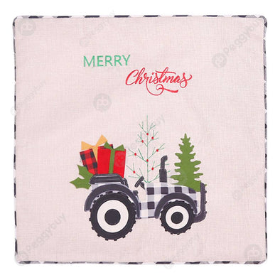 Linen Plaid Tractor Printed Christmas Cushion Pillow Case (Black White)