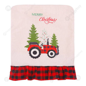Linen Plaid Christmas Chair Cover Back Covers Holiday Decor (Red Black)