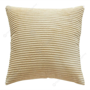 Solid Square Pillow Case Sofa Cushion Cover Corn Bar Pillowslip (Beige)