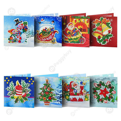 8pcs Christmas-DIY Creative Diamond Greeting Card