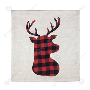 Christmas Decors Plaid Pillowcase Linen Sofa Cushion Cover (Elk)