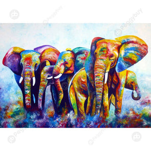 40*50CM Paint By Numbers-Colorful Elephant Herd