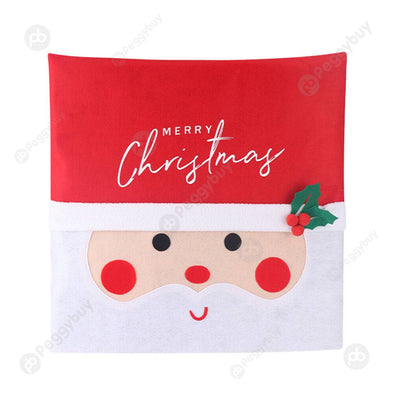 Christmas Chair Cover Cartoon Santa Claus with Lights Xmas Party Seat Case