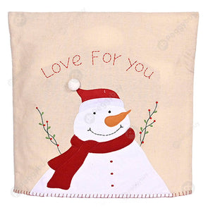 Christmas Chair Cover Embroidery Non-woven Stool Back Wrap Sleeve (Snowman)