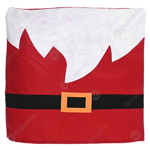 Christmas Chair Cover with Belt Xmas Back Seat Case Stool Slipcover (Red)