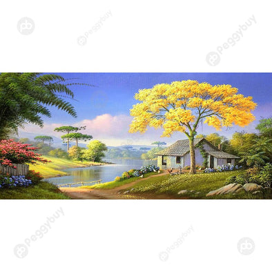 100*50CM Round Drill Diamond Painting-Village House