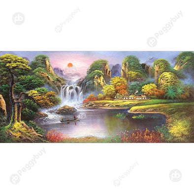 100*50CM Round Drill Diamond Painting-Landscape