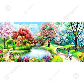 100*50CM Round Drill Diamond Painting-Spring Bridge