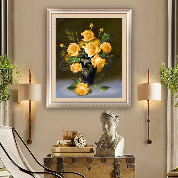40*46CM Round Drill Diamond Painting-Rose Flower Yellow