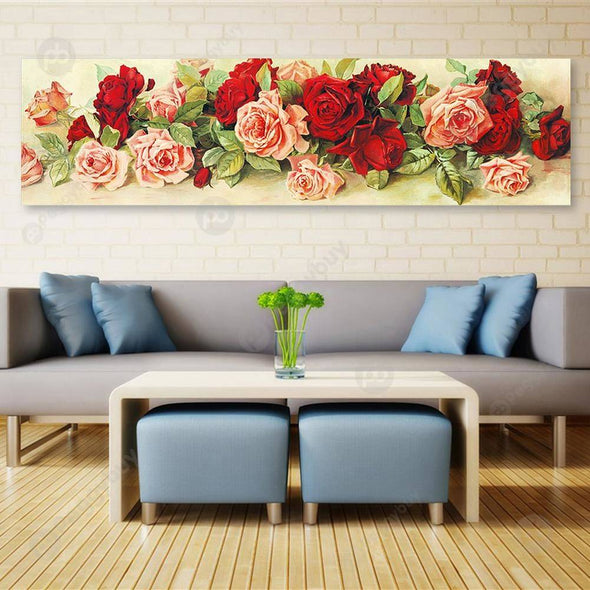 90*30CM Round Drill Diamond Painting-Rose
