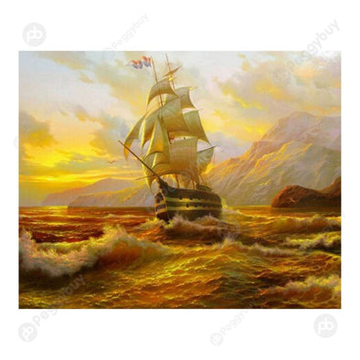 37*30CM Round Drill Diamond Painting-Sailing Ships