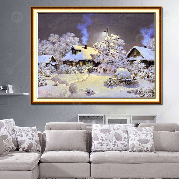 30*24CM Round Drill Diamond Painting-Snow House