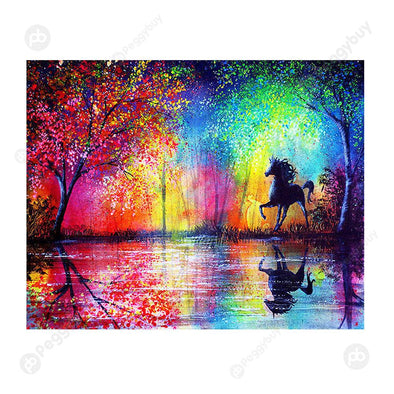 40*30CM Round Drill Diamond Painting-Sky Horses