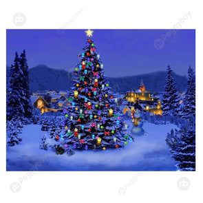 40*30CM Round Drill Diamond Painting-Christmas Tree