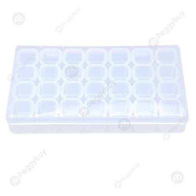 Plastic 28 Slots Clear Nail Tools Jewelry Storage Box Case