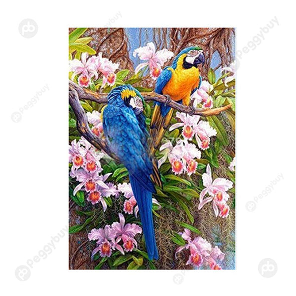 30*40CM Round Drill Diamond Painting-Two Parrot