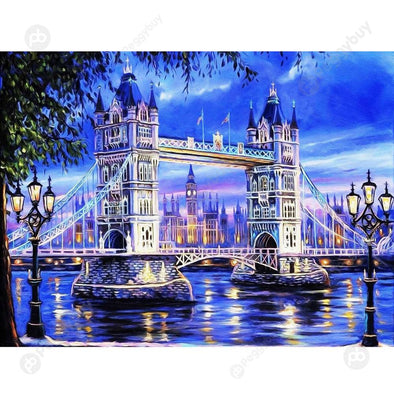 40*30CM Round Drill Diamond Painting-Tower Bridge