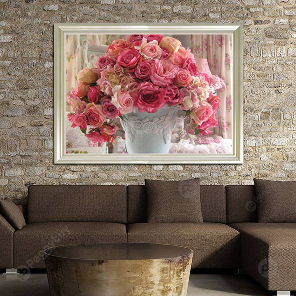 40*30CM Round Drill Diamond Painting-Rose Flowerpot