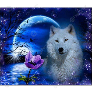 40*30CM Round Drill Diamond Painting-Night Wolf