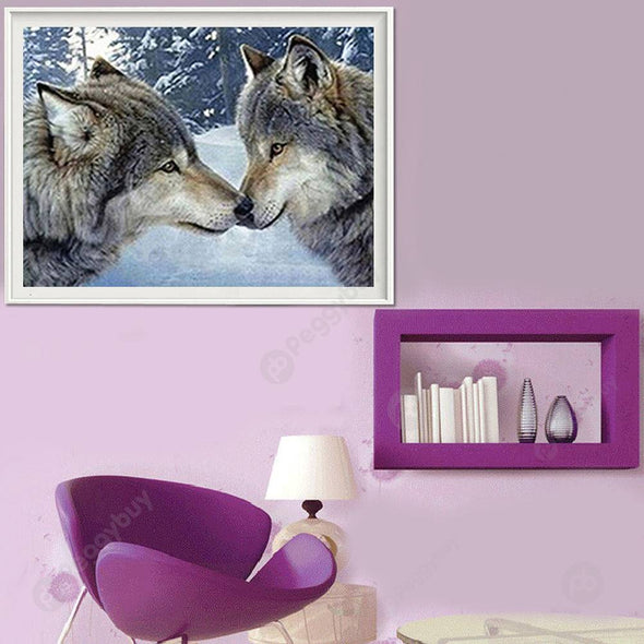40*30CM Round Drill Diamond Painting-Two Wolves
