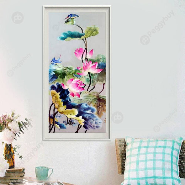 32*57CM Round Drill Diamond Painting-Lotus