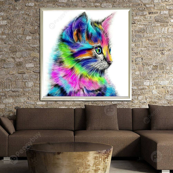 30*30CM Round Drill Diamond Painting-Colorful Cat