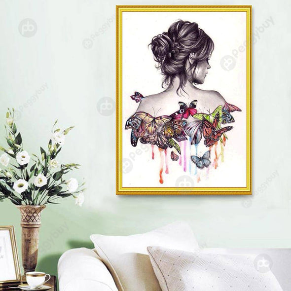 30*40CM Round Drill Diamond Painting-Butterfly Beauty Girl