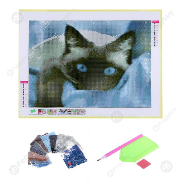 40*30CM Round Drill Diamond Painting-Blue Eye Cat