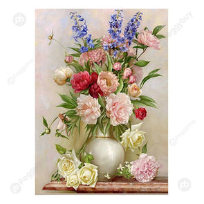 30*40CM Round Drill Diamond Painting-Charming Flowerpot