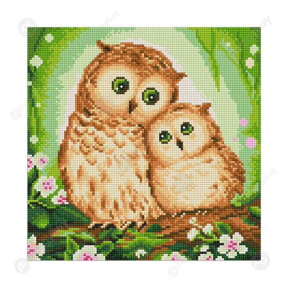 30*30CM Round Drill Diamond Painting-Two Owls