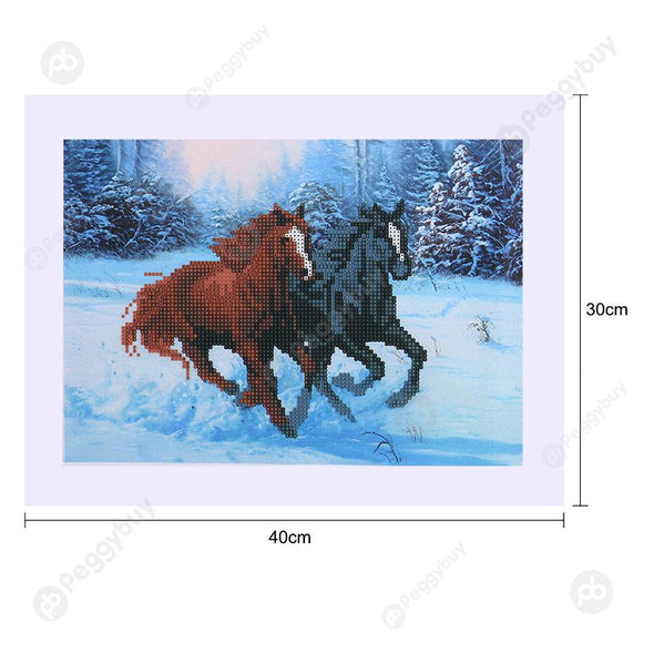 40*30CM Round Drill Diamond Painting-Two Horse