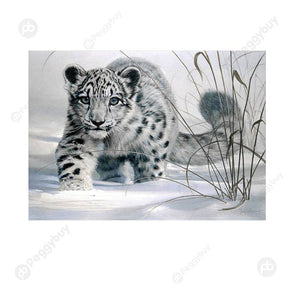 40*30CM Round Drill Diamond Painting-Snow Leopard