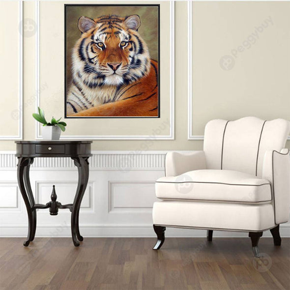 30*40CM Round Drill Diamond Painting-Tiger