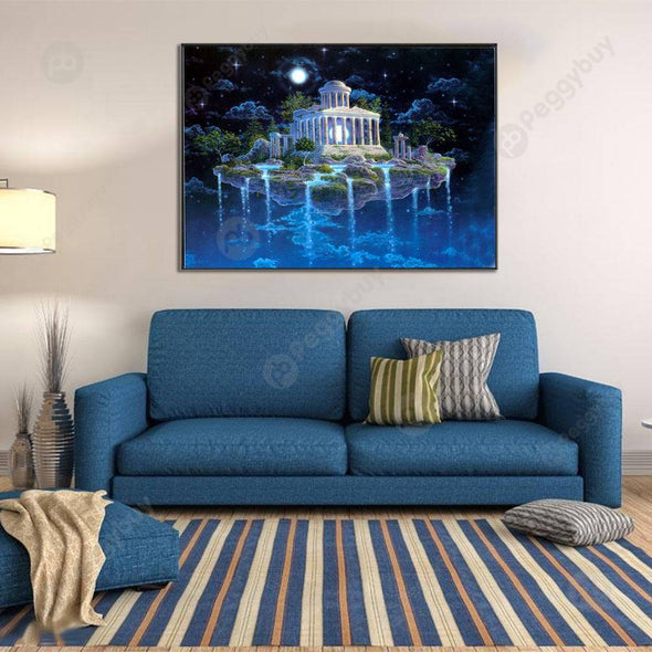 40*30CM Round Drill Diamond Painting-Castle in the Air