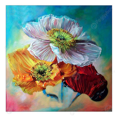 30*30CM Round Drill Diamond Painting-Abstract Flower